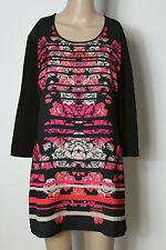 GERRY WEBER Tunika Gr. 38 schwarz-pink Muster Blusen Shirt Tunika zur Leggins
