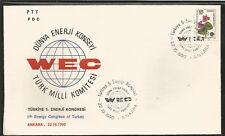 J) 1990 TURKEY, FLOWER, 5TH ENERGY CONGRESS OF TURKEY, DUNYA ENERGY COUNCIL TURK