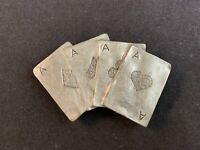 Vintage Four Aces Playing Cards NWP Pewter Magnet