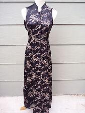 JAY JACOBS Long Sheath Dress Junior Sz 7 8 Black Floral Asian Button Acetate
