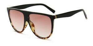 Oversized Black Flat Top Large Shield Fashion Sunglasses Women Ladies UV400