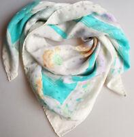 Silk scarf 80s white floral aqua pink yellow orange purple polkadot texture 34in