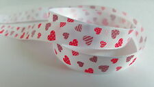 3m Printed Ribbon - Grosgrain - 16mm - White & Pink Hearts