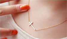 HOT! Lady Horizontal Sideways Cross 14 K Yellow Gold Plated Necklace Pendant New