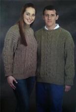 Aran Sweaters Plymouth KNITTING PATTERN 1621 Men & Women 2 styles Pattern Only