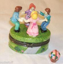 RING 'ROUND ROSIE w/ 4 children-Porcelain Hinged-Box-VICTORIAN CHILDREN'S GAME