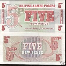 BRITISH ARMED FORCES 5 NEW PENCE SPECIAL VOUCHER NOTE UNC