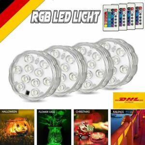 Unterwasser Licht Poolbeleuchtung 4er Set LED Bunt RGB Poollicht Teich Badewanne