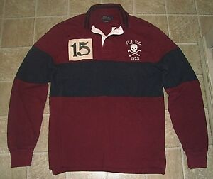 Custom Fit (M) POLO-RALPH LAUREN Burgundy Mesh SKULL & CROSSBONES Rugby Shirt