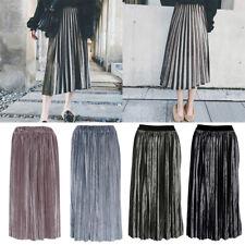 Women Autumn Winter All-match Velvet Pleated Skirt Elegant High Waist Thin Skirt