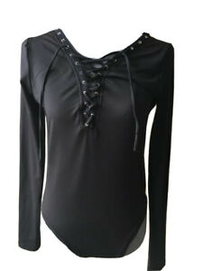 Womens T-Shirt Body Top Size 14 Black Long Sleeved Polyester Tie Front
