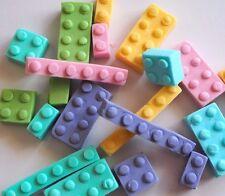 24 x Blocks EDIBLE CUPCAKE TOPPERS Girls FRIENDS Building Bricks PINK & PURPLE