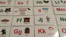 Christmas Alphabet Laminated Flashcards. Preschool Picture and Word flashcards