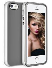 LoHi iPhone 5 5S SE Case TPU Silicon Cover Scratch Resisant Bumper Grey White