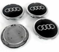 4x 69mm AUDI Black Wheel Centre Caps Hub Cover 8T0601170A
