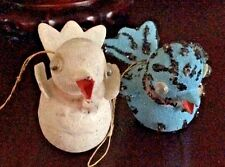 VINTAGE CHRISTMAS ORNAMENTS (2) 1950's BIRD ORNAMENTS CARDBOARD PAPER MACHE MIC