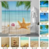 Beach Shell Print Polyester Waterproof Bathroom Curtain Shower Curtains 12 Hooks