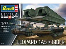 REVELL 1:72  KIT CARRO ARMATO LEOPARD 1A5 + BIBER LUNGHEZZA 15,8 E13,2 CM 03307