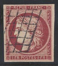 n°6 Cérès timbre classique 1fr Carmin oblitéré Grille qualité TB - Signé A.Brun