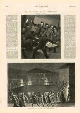 1876 - Antique Print NAVAL Troopship Justice Coaling Singapore Baskets (042)