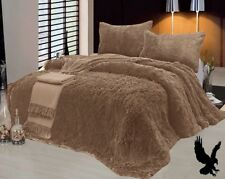 3 Piece Fur Long Pile Taupe Plush Super Soft Sherpa Blanket King Size 6lbs