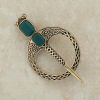 Irish Bronze Celtic Green Agate brooch