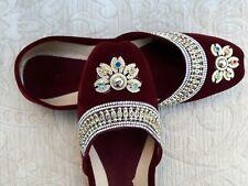 Terciopelo Marrón Damas Indio Boda Fiesta Khussa zapatos talla 3