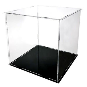 Acrylic Display Case Black Leather Base Show Case for Collectibles Model 10-25cm