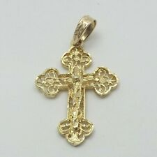 NEW 14K Gold Hand Made Budded Filigree Crucifix Cross Charm Pendant 3.5gr