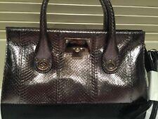 NEW Jimmy Choo Riley M Black Steel Metallic Elaphe Snakeskin Leather Satchel Bag