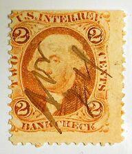 US Revenue Stamp #R6d – 1862-71 2-cent Bankcheck Orange - Blue Silk