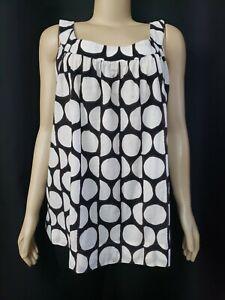 Piazza Sempione Ivory Black Brown Silk Blend Women's Top Blouse Size (IT 48) #C