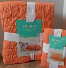 Pillowfort Triangle Stitch Twin Comforter & Sham Set ~ NEW Orange