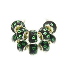 5pcs Silver Murano Pet Paw Print Charm Beads Fit European Bracelet & Bangle