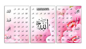"""3 Panel Islamic Wall Art Canvas 99 NAMES OF ALLAH 60""""X30"""" - Floral Pink - New"""