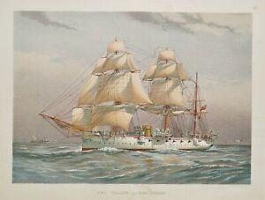 H.M.S.CALLIOPE R.Low Original antique nautical Navy maritime ship print 1892