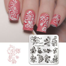Square Nails Stamping Plate Flower Vine Rose Leaves Floral Image Plate Stencil