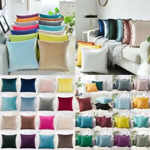"""16"""" 18"""" 20"""" 22"""" 24"""" Velvet Plain Cushion Covers Pillow Cases Home Sofa Decor UK"""