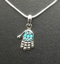 Judaica jewelry silver plate hamsa hand of God pendant necklace Israel