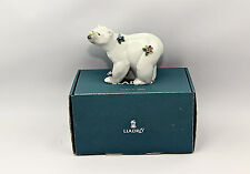 LLADRO 01006354 ATTENTIVE POLAR BEAR WITH FLOWERS New Boxed Authentic RARE!
