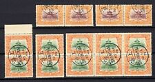 China 1909 temple of heaven 2c.+7c. group of 14 stamps CTO used NH OG