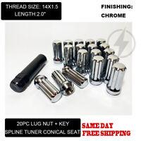 20 Twisted Spline Spike Lug Nuts KitChrome12x1.5 Buick Chrysler Cadillac
