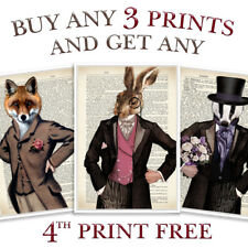ANIMAL PRINT ANTIQUE VINTAGE OWL BADGER MOUSE FOX HARE STAG STEAMPUNK PAGE ART