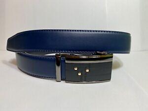 Mens Pavini Adjustable Ratchet Belt Navy Blue Syn Leather Gray Buckle Gold