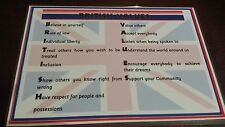 Acrostic BRITISH VALUES POSTER - laminated- OFSTED- nursery childminder school