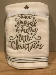 SET OF TWO HAND TOWELS HAVE YOURSELF A MERRY LITTLE CHRISTMAS OFF WHITE GOLD NWT