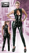 2850800 BLACK LEVEL Tuta PVC vinile Nero a Collo Alto con Cerniera Zip a 2 Vie