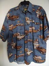WORK N SPORT Mens Classic Cars Blue 100% Cotton Short Sleeve Button Shirt  Sz XL