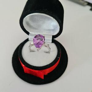 Stunning Moroccan Amethyst & Zircon Ring in Platinum Over Sterling Silver