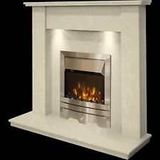 CREAM MARBLE STONE SURROUND SILVER 2KW ELECTRIC FIRE FIREPLACE SUITE DOWNLIGHTS
